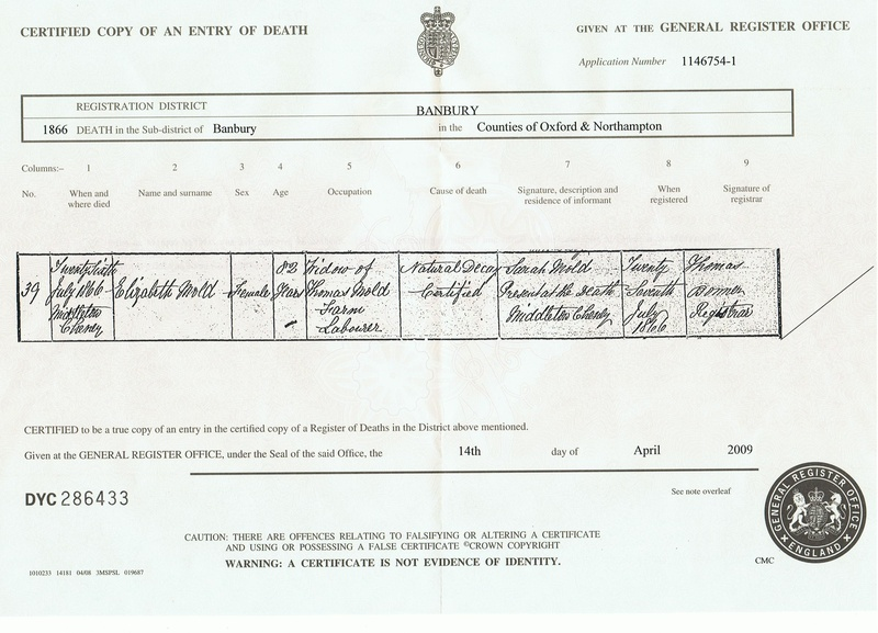 Death Certificate of Eizabeth Mold (nee Webb)